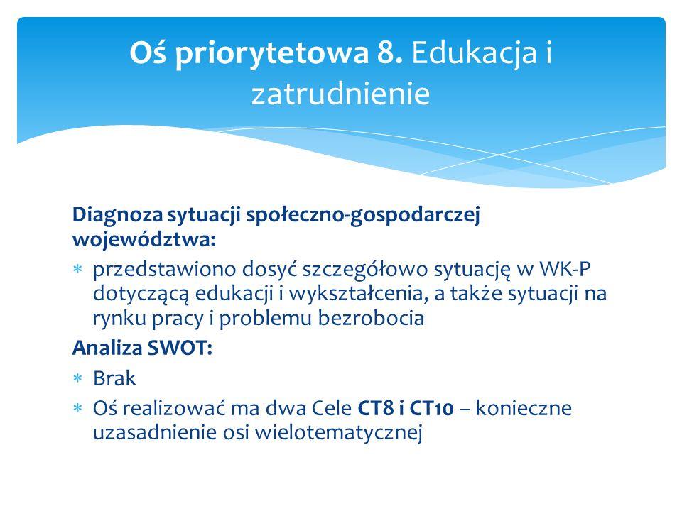 Diagnoza sytuacji społeczno-gospodarczej województwa: przedstawiono dosyć szczegółowo sytuację w WK-P dotyczącą edukacji i wykształcenia, a także sytu