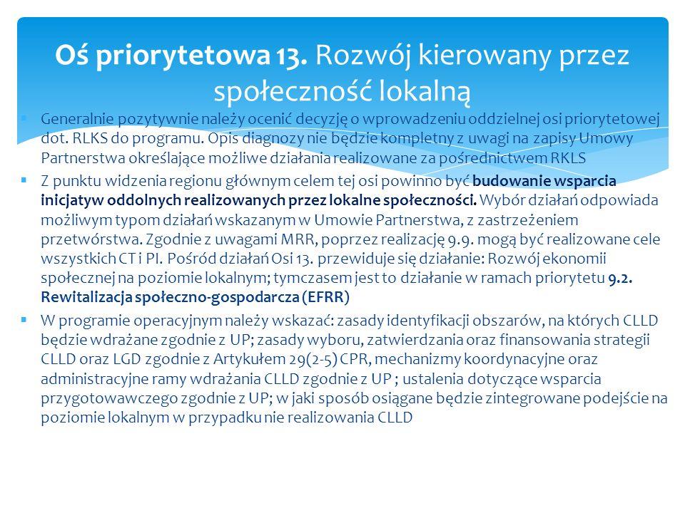 Generalnie pozytywnie należy ocenić decyzję o wprowadzeniu oddzielnej osi priorytetowej dot. RLKS do programu. Opis diagnozy nie będzie kompletny z uw