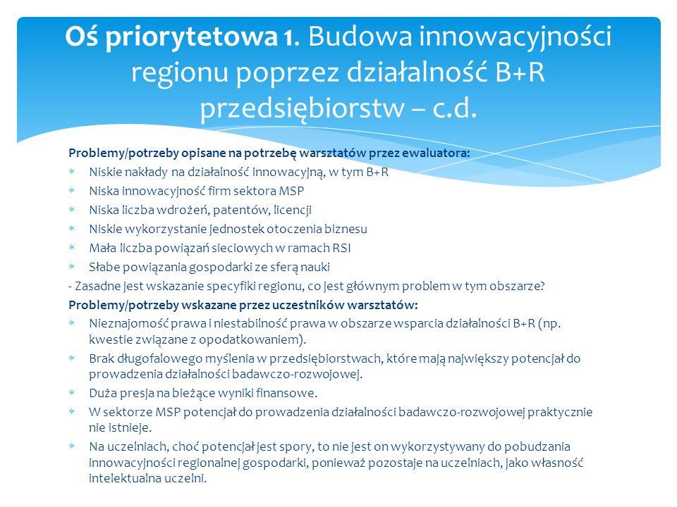 Problemy/potrzeby opisane na potrzebę warsztatów przez ewaluatora: Niskie nakłady na działalność innowacyjną, w tym B+R Niska innowacyjność firm sekto