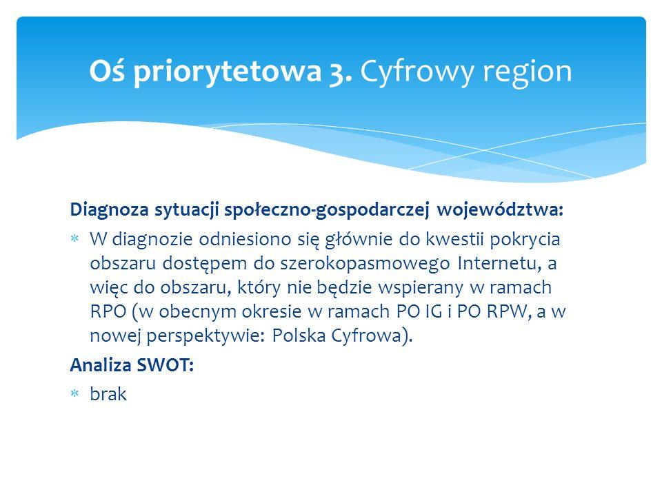 Diagnoza sytuacji społeczno-gospodarczej województwa: W diagnozie odniesiono się głównie do kwestii pokrycia obszaru dostępem do szerokopasmowego Inte