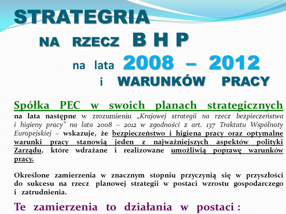 STRATEGRIA NA RZECZ B H P 2008 – 2012 WARUNKÓW PRACY STRATEGRIA NA RZECZ B H P na lata 2008 – 2012 i WARUNKÓW PRACY Spółka PEC w swoich planach strategicznych na lata następne w zrozumieniu Krajowej strategii na rzecz bezpieczeństwa i higieny pracy na lata 2008 – 2012 w zgodności z art.
