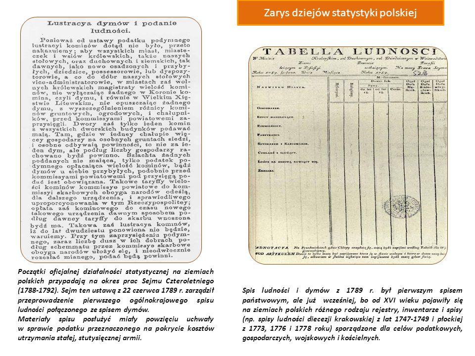 Początki oficjalnej działalności statystycznej na ziemiach polskich przypadają na okres prac Sejmu Czteroletniego (1788-1792).