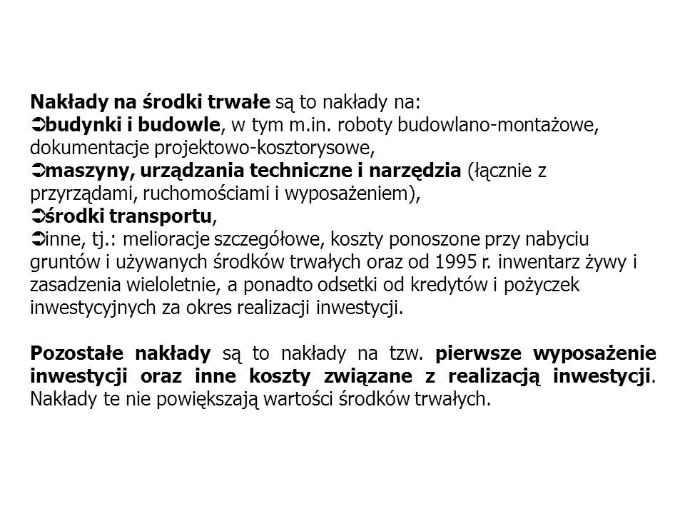 INWESTYCJE - DEFINICJA (1) RYNEK DÓBR INWESTYCYJNYCH 2 Nakłady inwestycyjne (inwestycje w sensie makroekonomicznym) to nakłady finansowe lub rzeczowe,