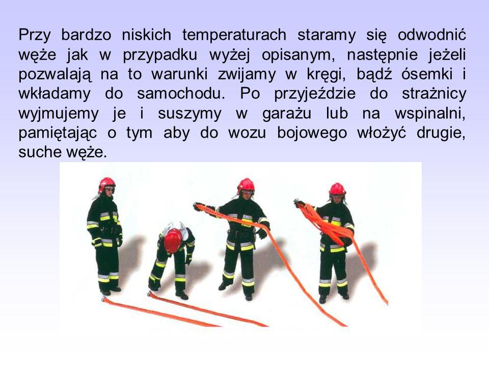 Przy bardzo niskich temperaturach staramy się odwodnić węże jak w przypadku wyżej opisanym, następnie jeżeli pozwalają na to warunki zwijamy w kręgi,