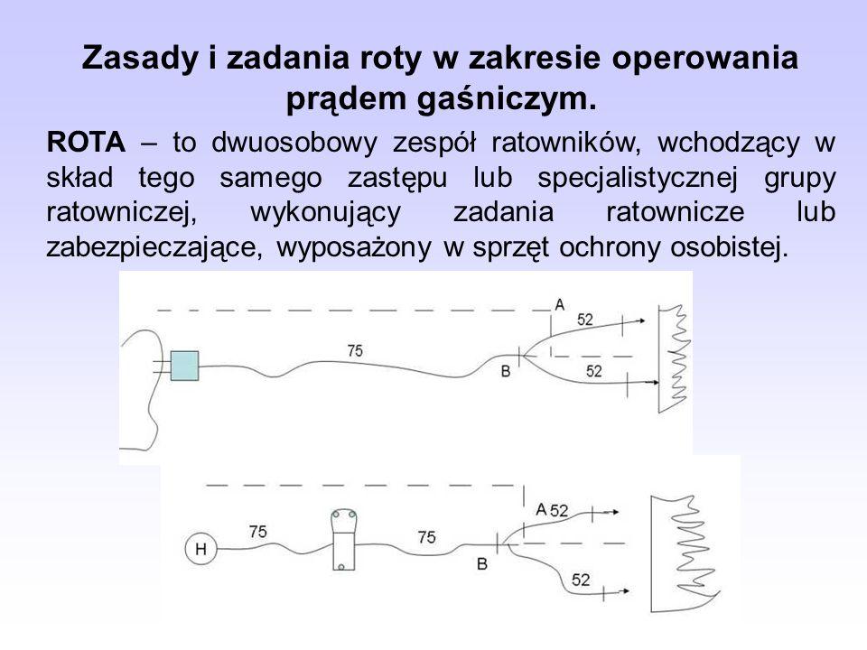 Zasady i zadania roty w zakresie operowania prądem gaśniczym. ROTA – to dwuosobowy zespół ratowników, wchodzący w skład tego samego zastępu lub specja