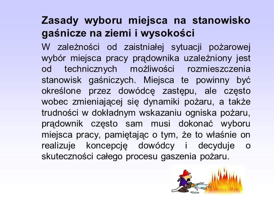 Zasady wyboru miejsca na stanowisko gaśnicze na ziemi i wysokości W zależności od zaistniałej sytuacji pożarowej wybór miejsca pracy prądownika uzależ