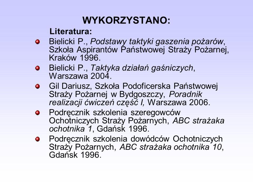 WYKORZYSTANO: Literatura: Bielicki P., Podstawy taktyki gaszenia pożarów, Szkoła Aspirantów Państwowej Straży Pożarnej, Kraków 1996. Bielicki P., Takt