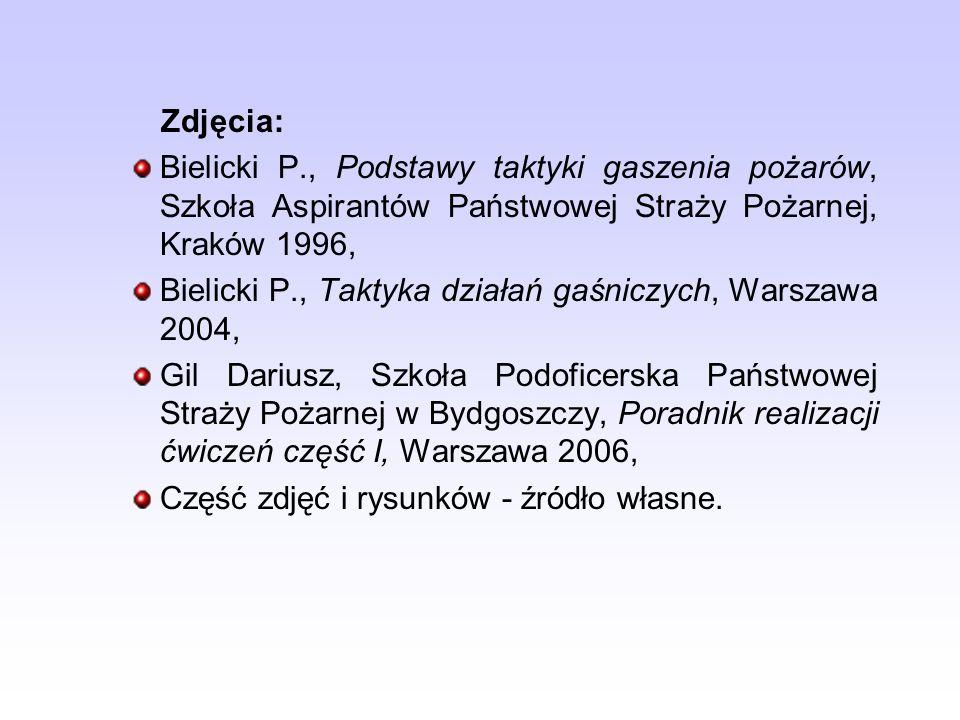 Zdjęcia: Bielicki P., Podstawy taktyki gaszenia pożarów, Szkoła Aspirantów Państwowej Straży Pożarnej, Kraków 1996, Bielicki P., Taktyka działań gaśni