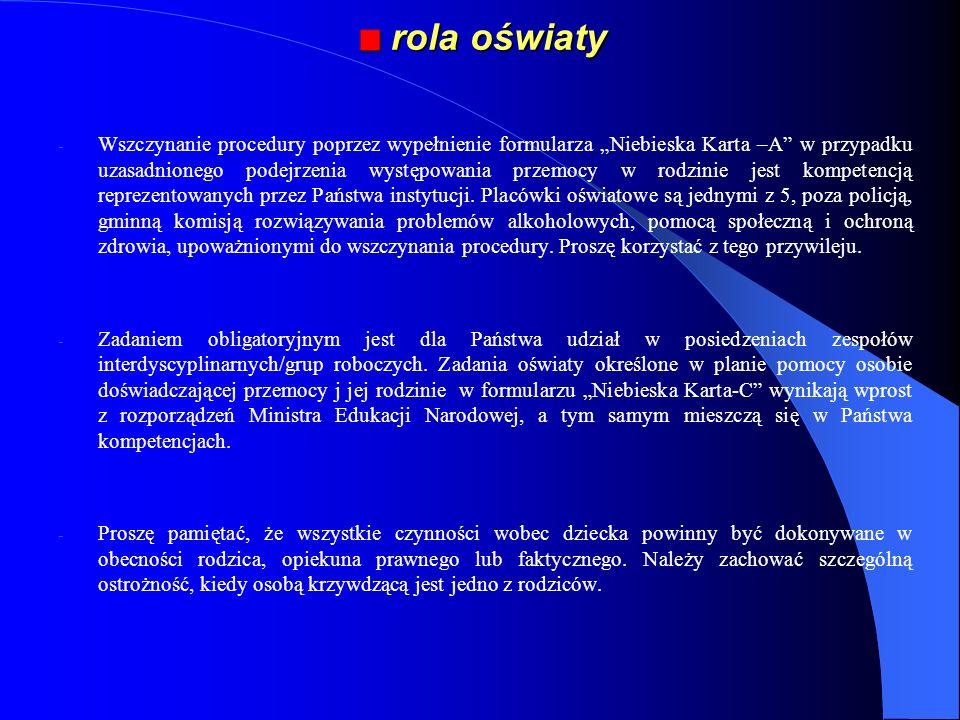 rola oświaty rola oświaty - Wszczynanie procedury poprzez wypełnienie formularza Niebieska Karta –A w przypadku uzasadnionego podejrzenia występowania
