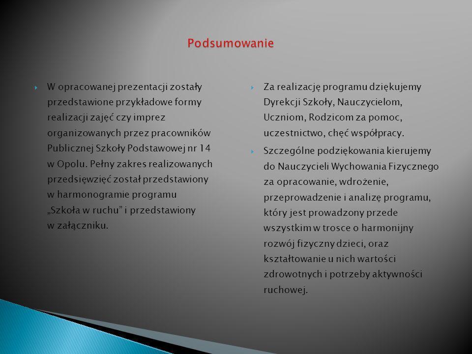 W opracowanej prezentacji zostały przedstawione przykładowe formy realizacji zajęć czy imprez organizowanych przez pracowników Publicznej Szkoły Podstawowej nr 14 w Opolu.