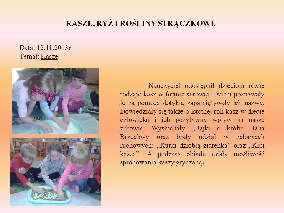 KASZE, RYŻ I ROŚLINY STRĄCZKOWE Data: 12.11.2013r Temat: Kasze Nauczyciel udostępnił dzieciom różne rodzaje kasz w formie surowej. Dzieci poznawały je
