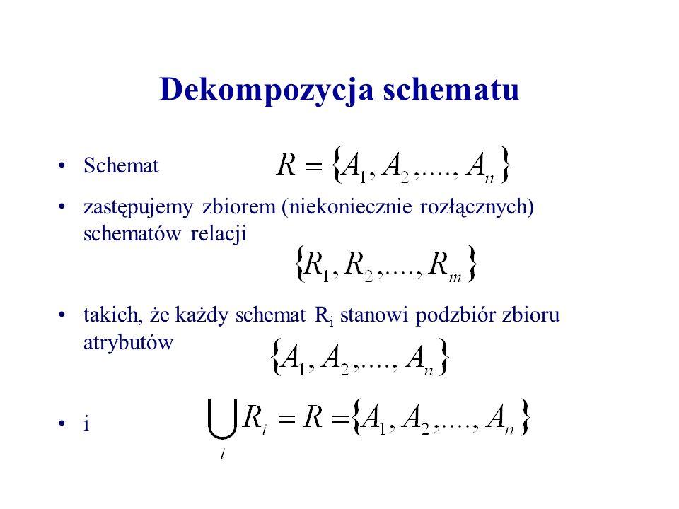Dekompozycja schematu Schemat zastępujemy zbiorem (niekoniecznie rozłącznych) schematów relacji takich, że każdy schemat R i stanowi podzbiór zbioru atrybutów i
