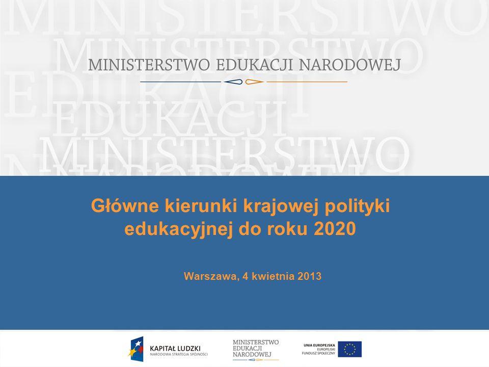 Porządek prezentacji 1.Powiązanie krajowej polityki edukacyjnej ze strategiami rozwoju kraju 2.Znaczenie idei uczenia się przez całe życie 3.Wyzwania polskiej edukacji 4.Główne kierunki krajowej polityki edukacyjnej 5.Priorytety inwestycyjne UE w edukacji 6.Krajowe cele inwestycyjne zorientowane na wykorzystanie funduszy UE 2
