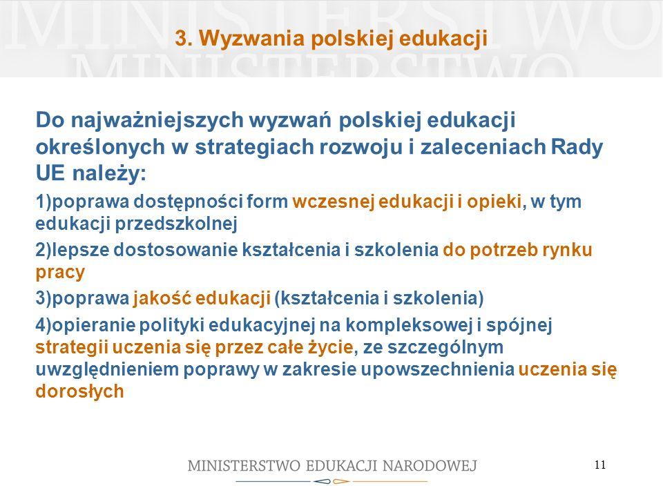 3. Wyzwania polskiej edukacji Do najważniejszych wyzwań polskiej edukacji określonych w strategiach rozwoju i zaleceniach Rady UE należy: 1)poprawa do