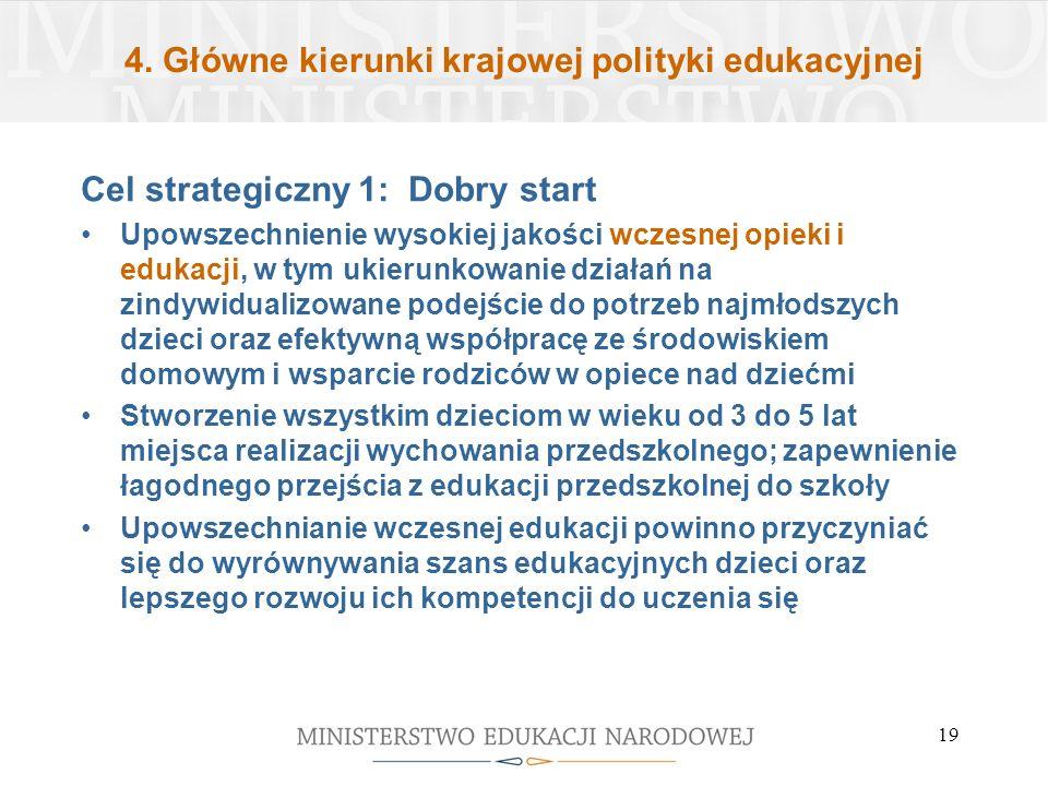 4. Główne kierunki krajowej polityki edukacyjnej Cel strategiczny 1: Dobry start Upowszechnienie wysokiej jakości wczesnej opieki i edukacji, w tym uk