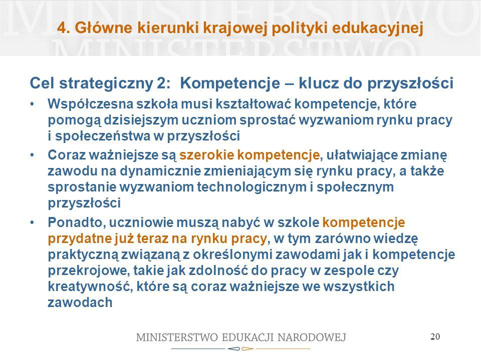 4. Główne kierunki krajowej polityki edukacyjnej Cel strategiczny 2: Kompetencje – klucz do przyszłości Współczesna szkoła musi kształtować kompetencj