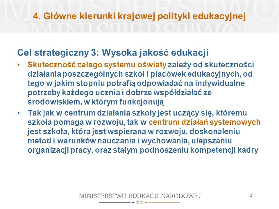 4. Główne kierunki krajowej polityki edukacyjnej Cel strategiczny 3: Wysoka jakość edukacji Skuteczność całego systemu oświaty zależy od skuteczności