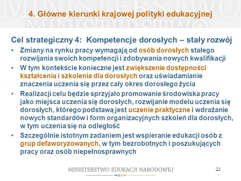 4. Główne kierunki krajowej polityki edukacyjnej Cel strategiczny 4: Kompetencje dorosłych – stały rozwój Zmiany na rynku pracy wymagają od osób doros