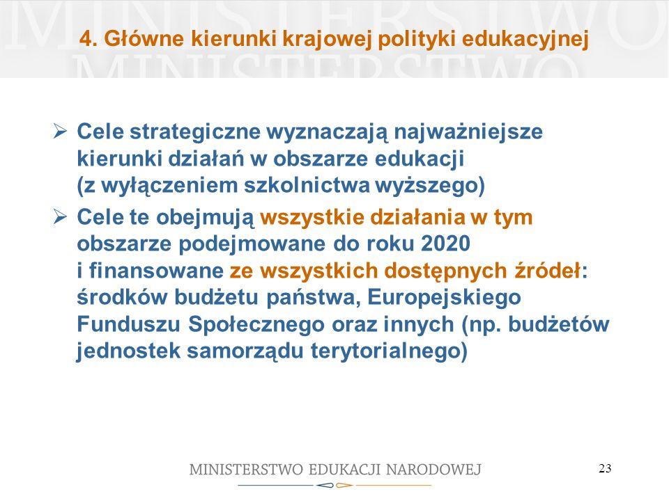 4. Główne kierunki krajowej polityki edukacyjnej Cele strategiczne wyznaczają najważniejsze kierunki działań w obszarze edukacji (z wyłączeniem szkoln
