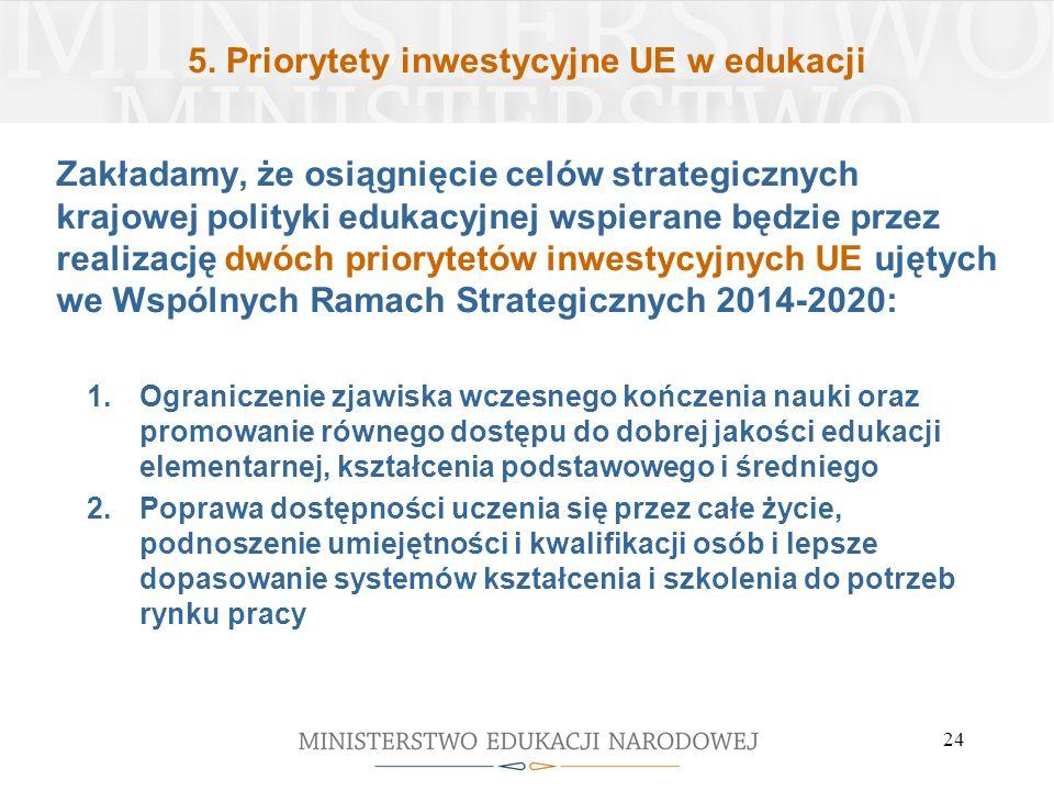 5. Priorytety inwestycyjne UE w edukacji Zakładamy, że osiągnięcie celów strategicznych krajowej polityki edukacyjnej wspierane będzie przez realizacj