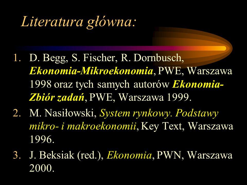Literatura główna: 1.D. Begg, S. Fischer, R. Dornbusch, Ekonomia-Mikroekonomia, PWE, Warszawa 1998 oraz tych samych autorów Ekonomia- Zbiór zadań, PWE