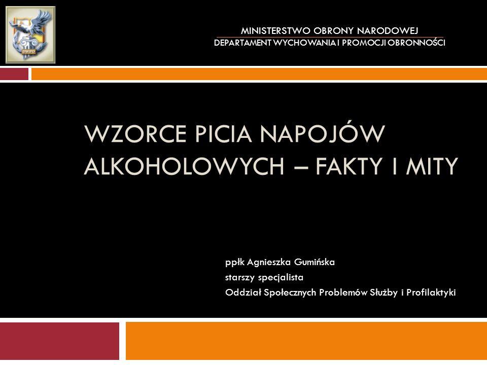 Diagnozowanie własnego wzorca picia alkoholu Porcja standardowa alkoholu (tzn.