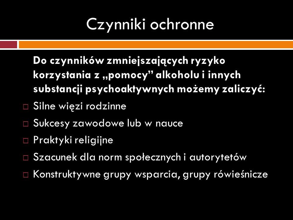 Czynniki ochronne Do czynników zmniejszających ryzyko korzystania z pomocy alkoholu i innych substancji psychoaktywnych możemy zaliczyć: Silne więzi r