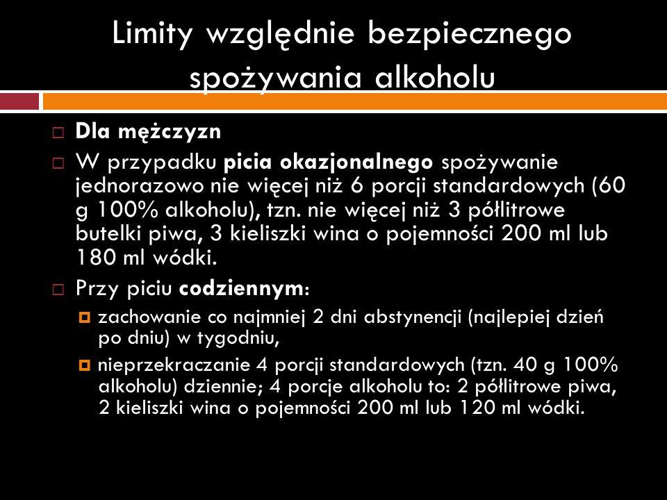 Limity względnie bezpiecznego spożywania alkoholu Dla mężczyzn W przypadku picia okazjonalnego spożywanie jednorazowo nie więcej niż 6 porcji standard