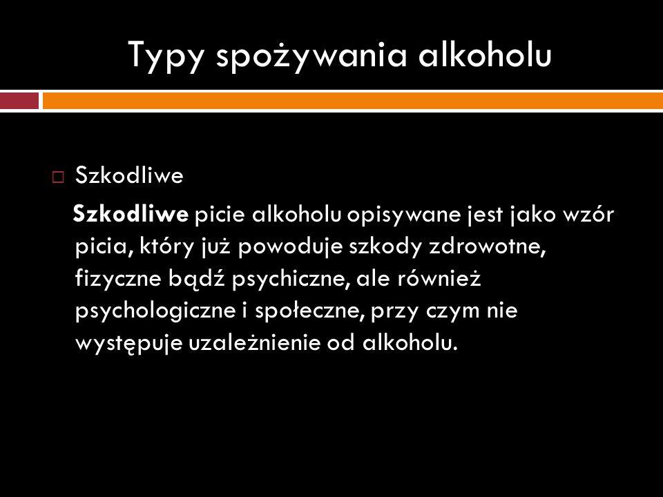 Typy spożywania alkoholu Szkodliwe Szkodliwe picie alkoholu opisywane jest jako wzór picia, który już powoduje szkody zdrowotne, fizyczne bądź psychic