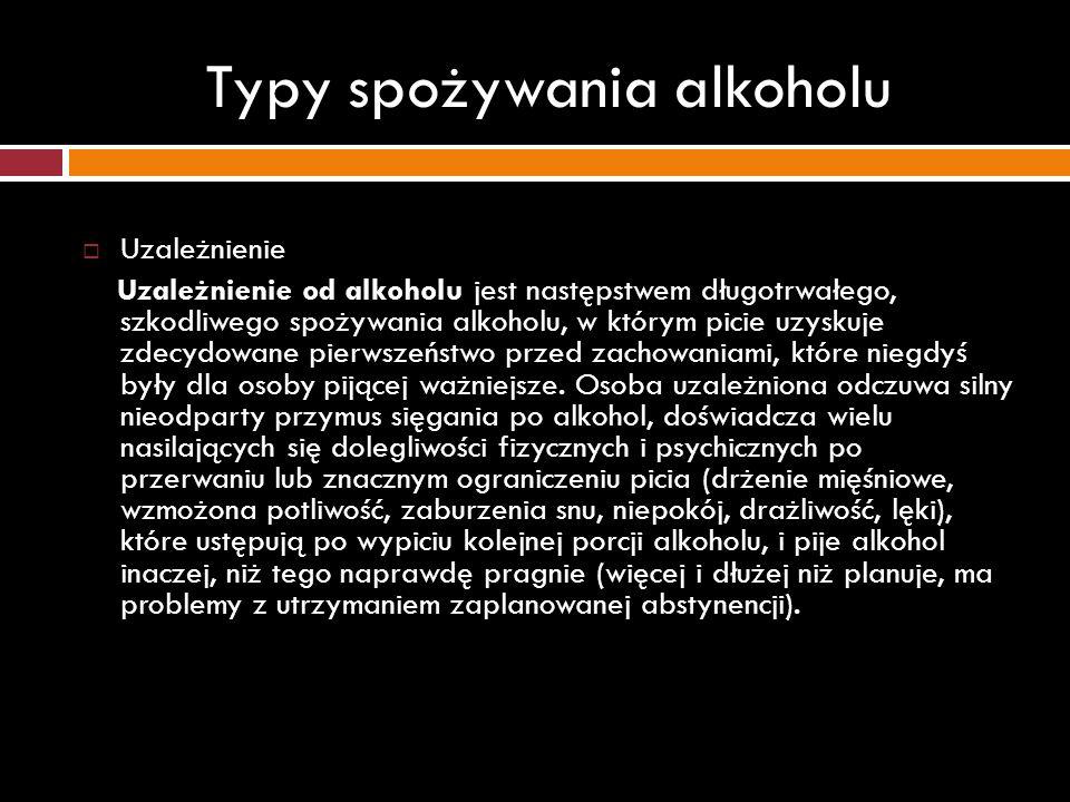 Typy spożywania alkoholu Uzależnienie Uzależnienie od alkoholu jest następstwem długotrwałego, szkodliwego spożywania alkoholu, w którym picie uzyskuj