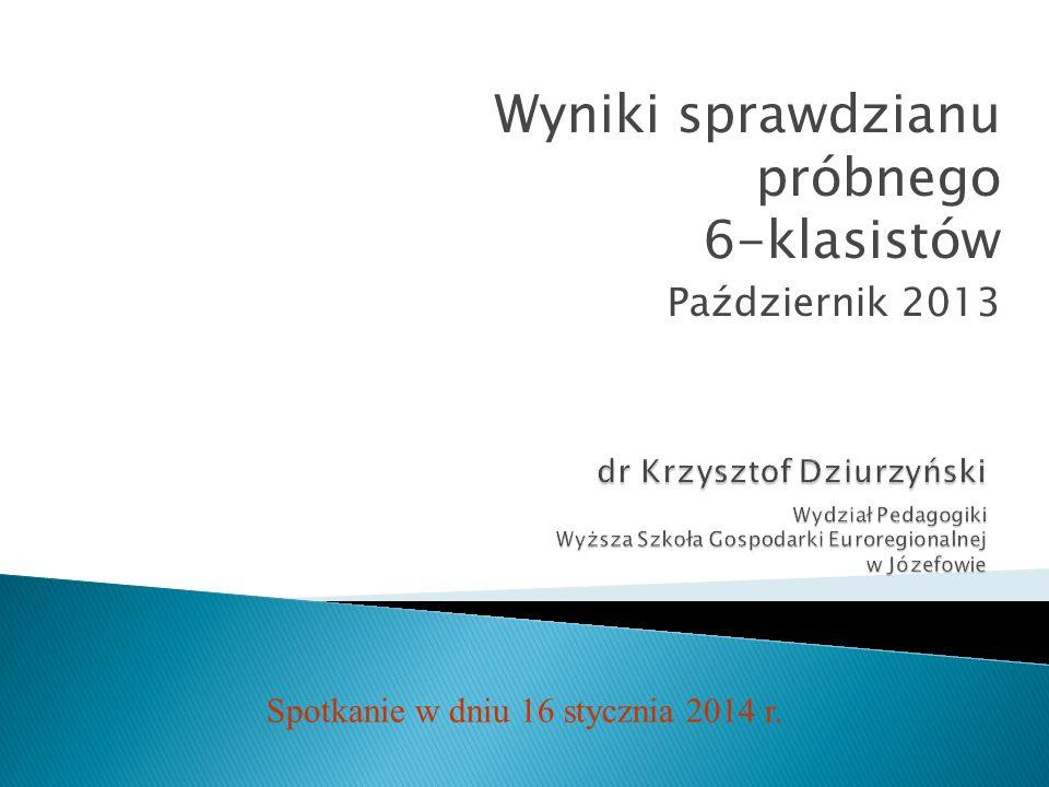 Wyniki sprawdzianu próbnego 6-klasistów Październik 2013 Spotkanie w dniu 16 stycznia 2014 r.