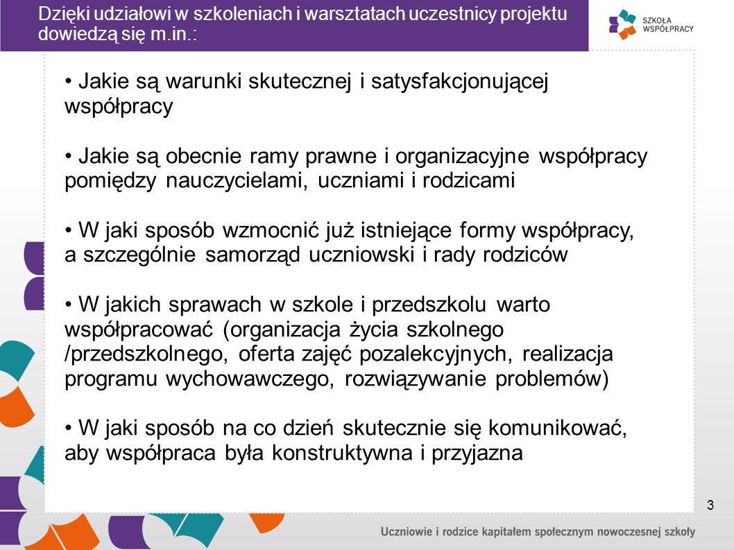 Dzięki udziałowi w szkoleniach i warsztatach uczestnicy projektu dowiedzą się m.in.: Jakie są warunki skutecznej i satysfakcjonującej współpracy Jakie