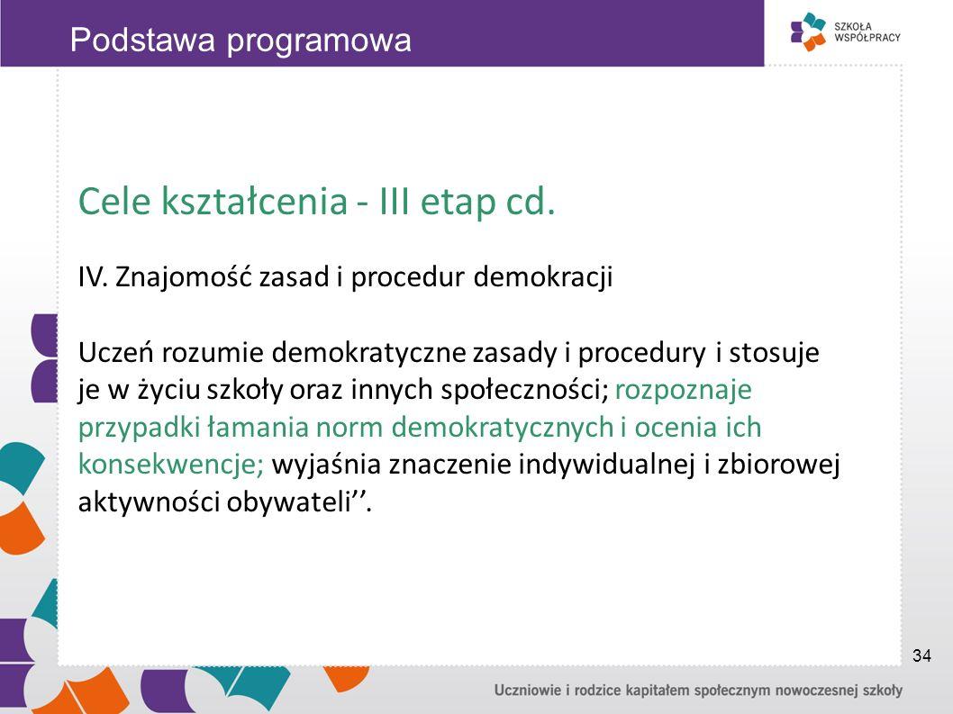 Cele kształcenia - III etap cd. IV. Znajomość zasad i procedur demokracji Uczeń rozumie demokratyczne zasady i procedury i stosuje je w życiu szkoły o