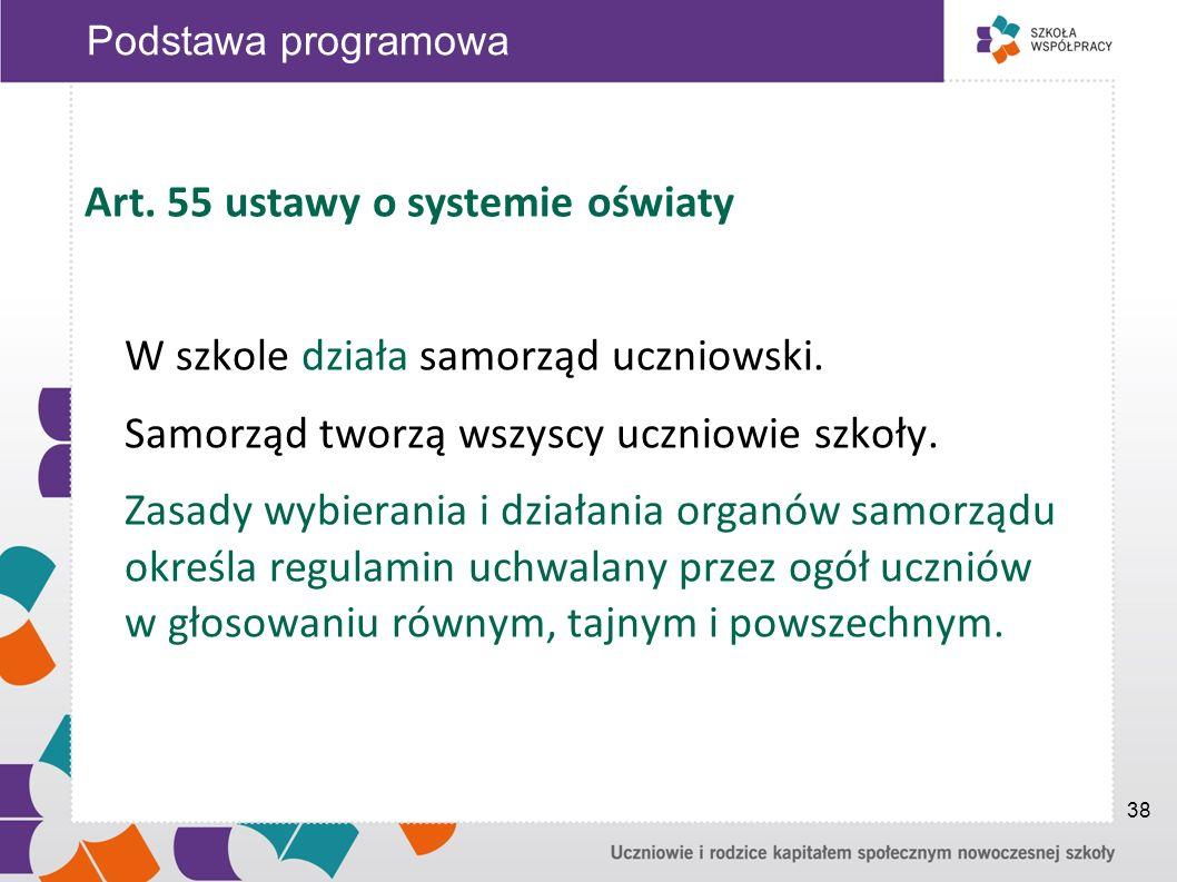 Art. 55 ustawy o systemie oświaty W szkole działa samorząd uczniowski. Samorząd tworzą wszyscy uczniowie szkoły. Zasady wybierania i działania organów