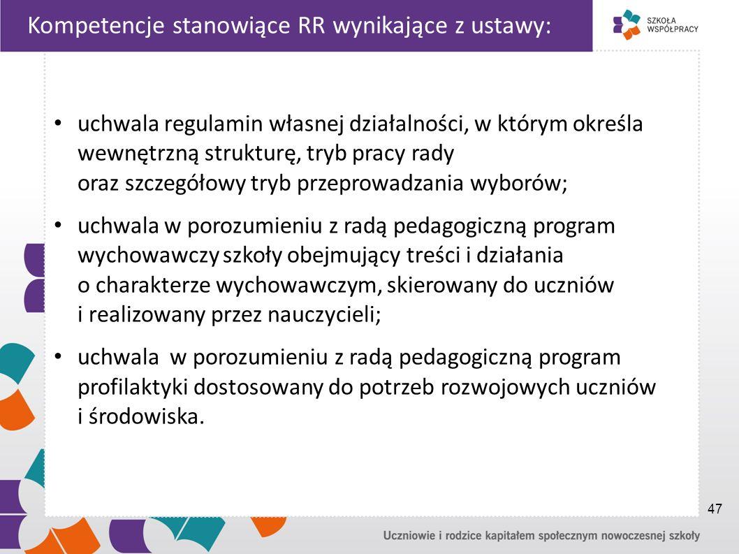 Kompetencje stanowiące RR wynikające z ustawy: uchwala regulamin własnej działalności, w którym określa wewnętrzną strukturę, tryb pracy rady oraz szczegółowy tryb przeprowadzania wyborów; uchwala w porozumieniu z radą pedagogiczną program wychowawczy szkoły obejmujący treści i działania o charakterze wychowawczym, skierowany do uczniów i realizowany przez nauczycieli; uchwala w porozumieniu z radą pedagogiczną program profilaktyki dostosowany do potrzeb rozwojowych uczniów i środowiska.