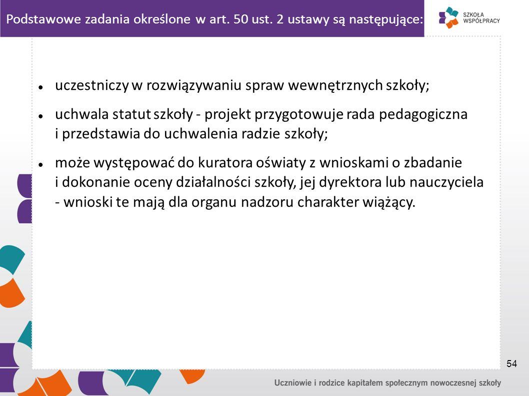 Podstawowe zadania określone w art. 50 ust. 2 ustawy są następujące: uczestniczy w rozwiązywaniu spraw wewnętrznych szkoły; uchwala statut szkoły - pr