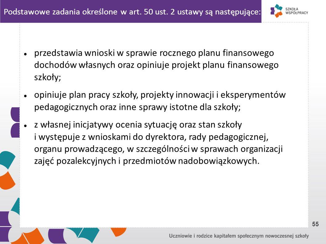 Podstawowe zadania określone w art. 50 ust. 2 ustawy są następujące: przedstawia wnioski w sprawie rocznego planu finansowego dochodów własnych oraz o