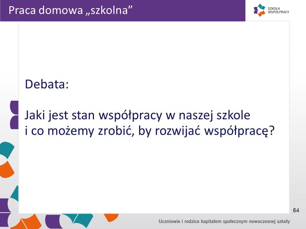 Praca domowa szkolna Debata: Jaki jest stan współpracy w naszej szkole i co możemy zrobić, by rozwijać współpracę? 64