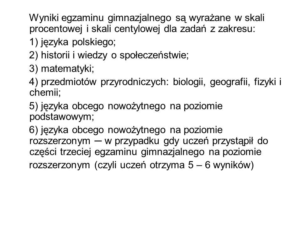 Wyniki egzaminu gimnazjalnego są wyrażane w skali procentowej i skali centylowej dla zadań z zakresu: 1) języka polskiego; 2) historii i wiedzy o społ