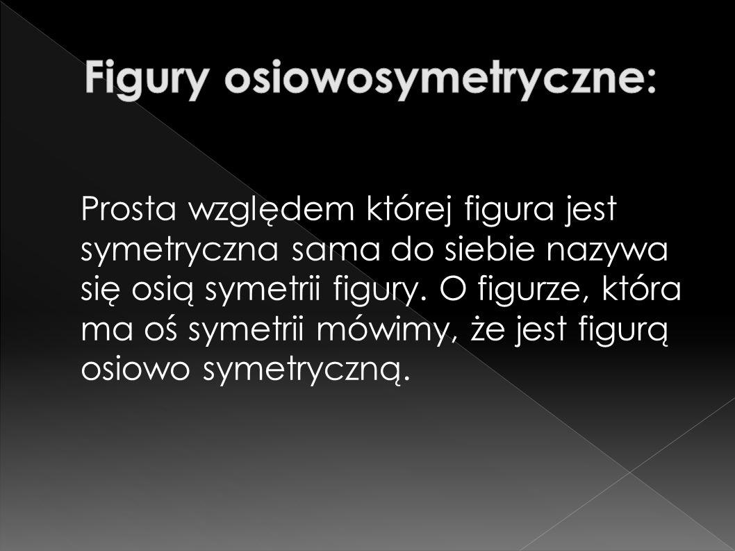 Prosta względem której figura jest symetryczna sama do siebie nazywa się osią symetrii figury. O figurze, która ma oś symetrii mówimy, że jest figurą