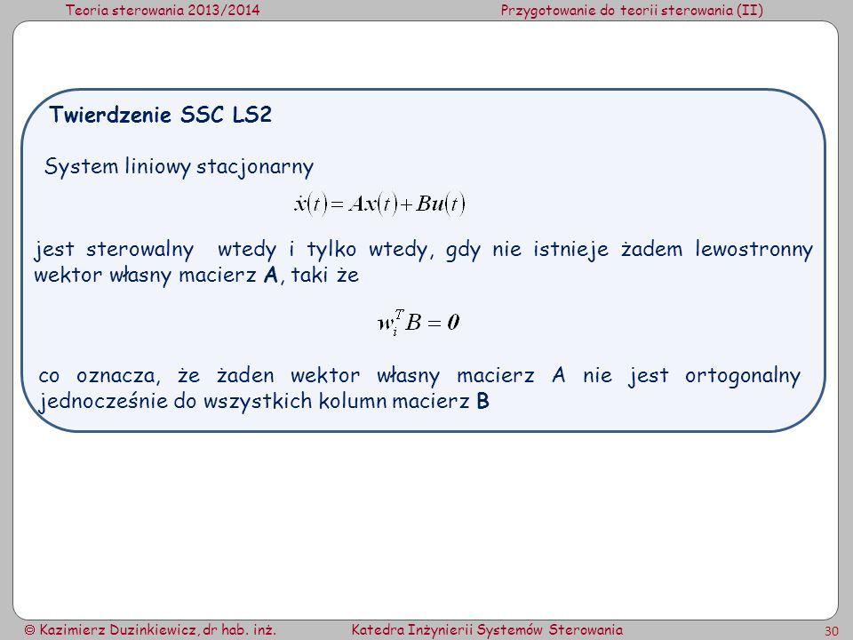 Teoria sterowania 2013/2014Przygotowanie do teorii sterowania (II) Kazimierz Duzinkiewicz, dr hab. inż.Katedra Inżynierii Systemów Sterowania 30 Syste
