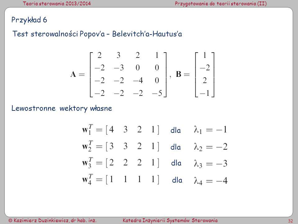 Teoria sterowania 2013/2014Przygotowanie do teorii sterowania (II) Kazimierz Duzinkiewicz, dr hab. inż.Katedra Inżynierii Systemów Sterowania 32 Przyk