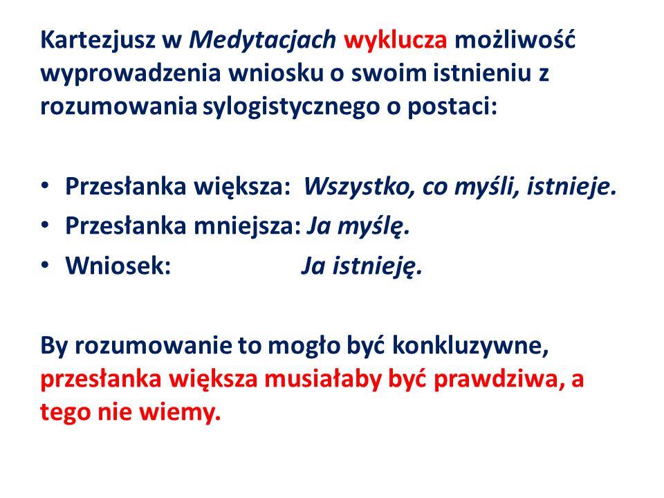 Kartezjusz w Medytacjach wyklucza możliwość wyprowadzenia wniosku o swoim istnieniu z rozumowania sylogistycznego o postaci: Przesłanka większa: Wszys