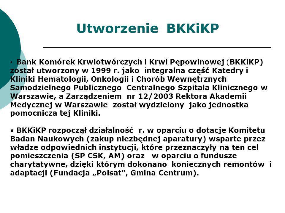 Bank Komórek Krwiotwórczych i Krwi Pępowinowej (BKKiKP) został utworzony w 1999 r. jako integralna część Katedry i Kliniki Hematologii, Onkologii i Ch