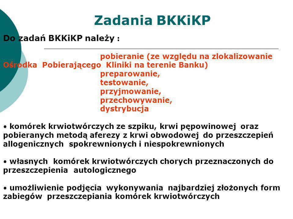 Do zadań BKKiKP należy : pobieranie (ze względu na zlokalizowanie Ośrodka Pobierającego Kliniki na terenie Banku) preparowanie, testowanie, przyjmowan