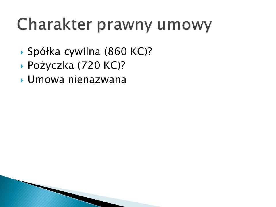 Spółka cywilna (860 KC)? Pożyczka (720 KC)? Umowa nienazwana