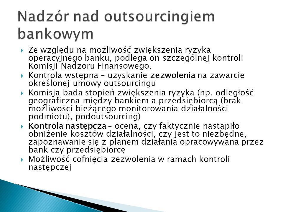 Ze względu na możliwość zwiększenia ryzyka operacyjnego banku, podlega on szczególnej kontroli Komisji Nadzoru Finansowego. Kontrola wstępna – uzyskan