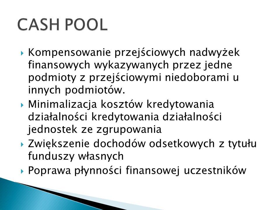 Kompensowanie przejściowych nadwyżek finansowych wykazywanych przez jedne podmioty z przejściowymi niedoborami u innych podmiotów. Minimalizacja koszt