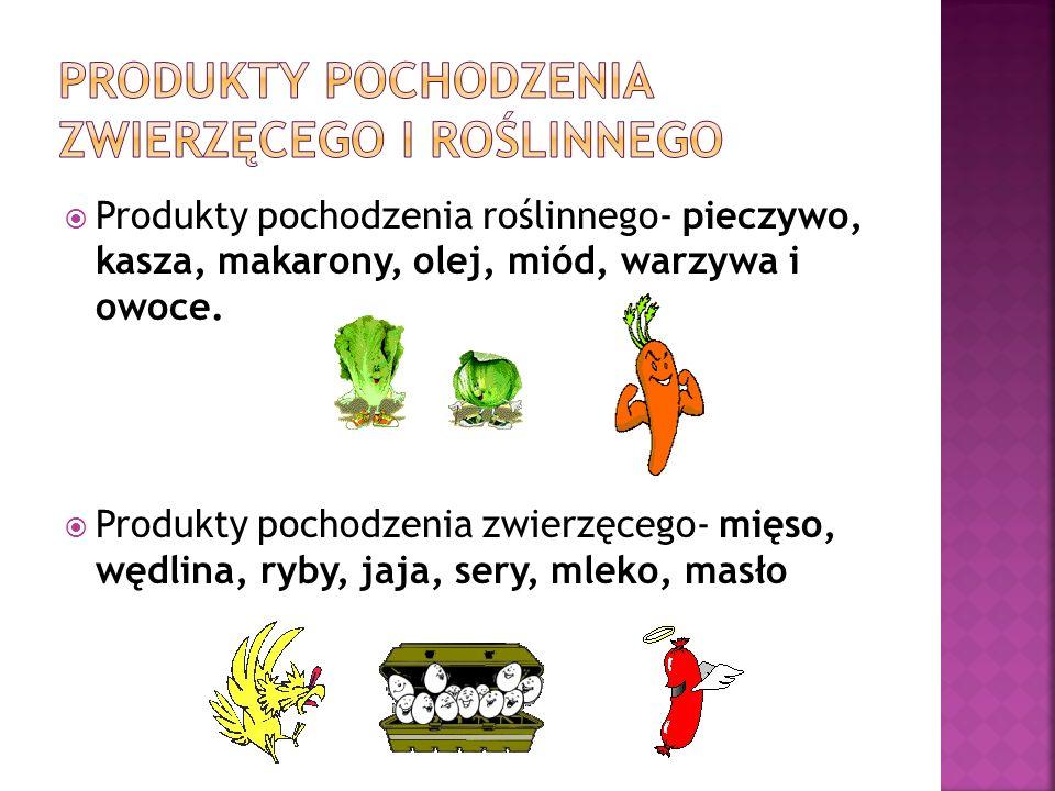 Produkty pochodzenia roślinnego- pieczywo, kasza, makarony, olej, miód, warzywa i owoce. Produkty pochodzenia zwierzęcego- mięso, wędlina, ryby, jaja,