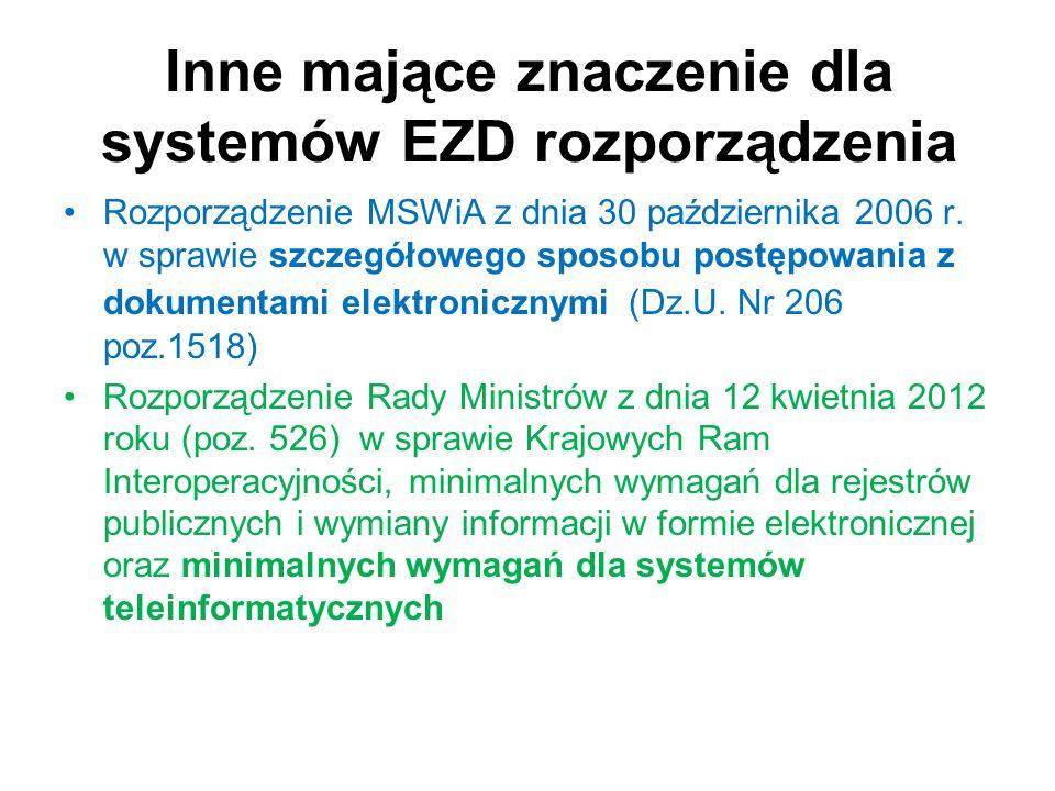 Inne mające znaczenie dla systemów EZD rozporządzenia Rozporządzenie MSWiA z dnia 30 października 2006 r. w sprawie szczegółowego sposobu postępowania